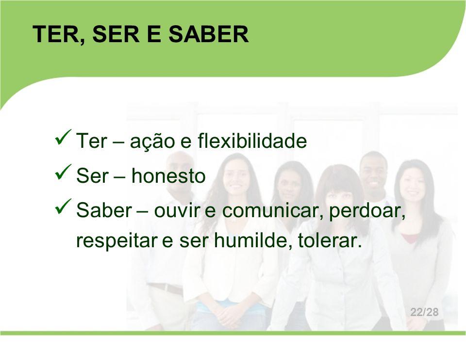 TER, SER E SABER Ter – ação e flexibilidade Ser – honesto
