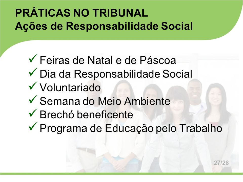 PRÁTICAS NO TRIBUNAL Ações de Responsabilidade Social