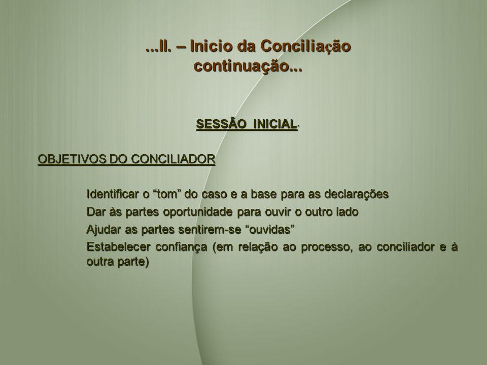 ...II. – Inicio da Conciliação continuação...