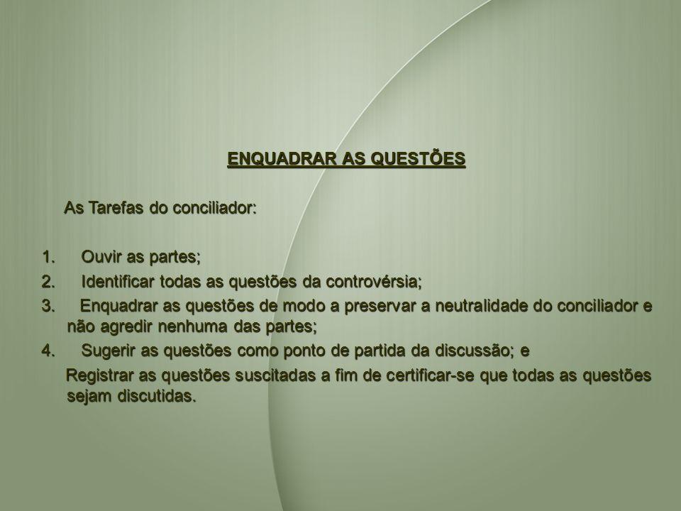 ENQUADRAR AS QUESTÕES As Tarefas do conciliador: 1. Ouvir as partes; 2. Identificar todas as questões da controvérsia;