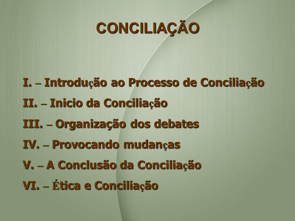 CONCILIAÇÃO I. – Introdução ao Processo de Conciliação