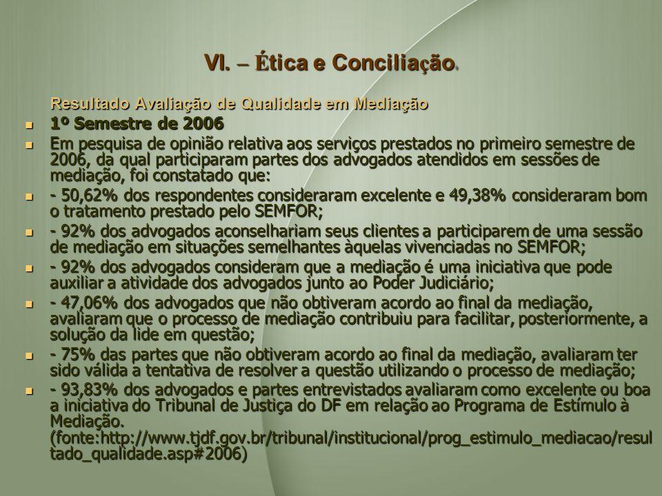 VI. – Ética e Conciliação