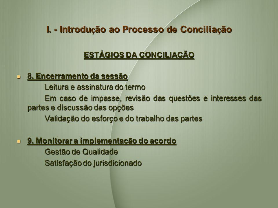 I. - Introdução ao Processo de Conciliação