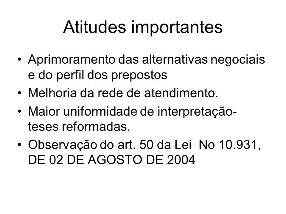 Atitudes importantes Aprimoramento das alternativas negociais e do perfil dos prepostos. Melhoria da rede de atendimento.