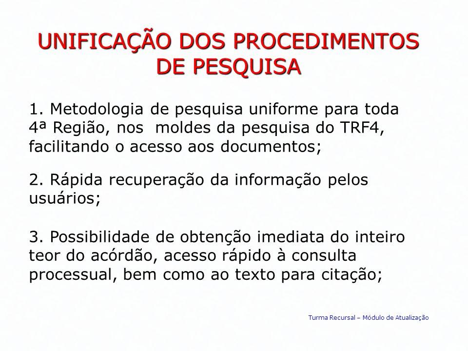 UNIFICAÇÃO DOS PROCEDIMENTOS DE PESQUISA