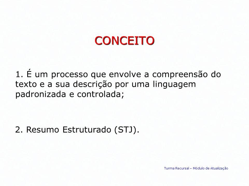 CONCEITO 1. É um processo que envolve a compreensão do texto e a sua descrição por uma linguagem padronizada e controlada;