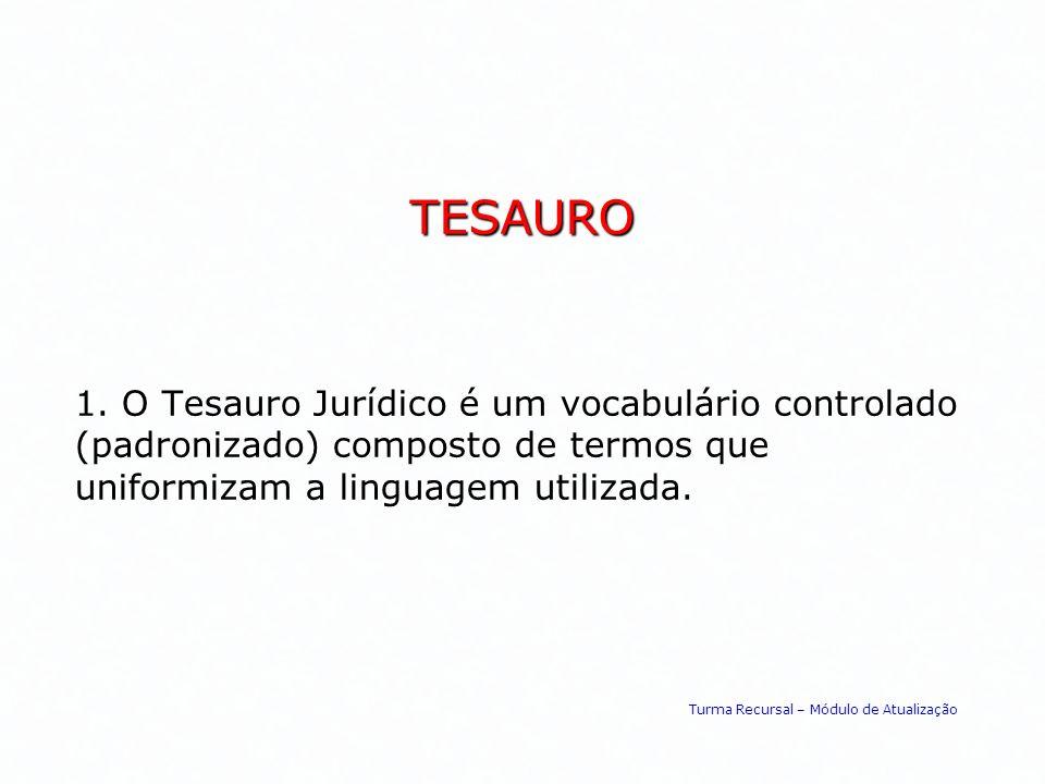 TESAURO 1. O Tesauro Jurídico é um vocabulário controlado (padronizado) composto de termos que uniformizam a linguagem utilizada.
