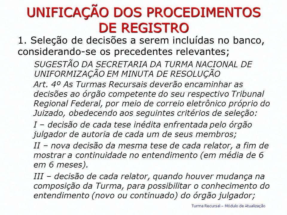UNIFICAÇÃO DOS PROCEDIMENTOS DE REGISTRO