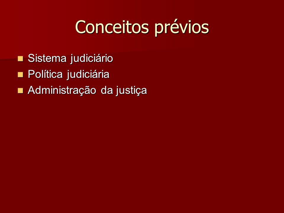 Conceitos prévios Sistema judiciário Política judiciária