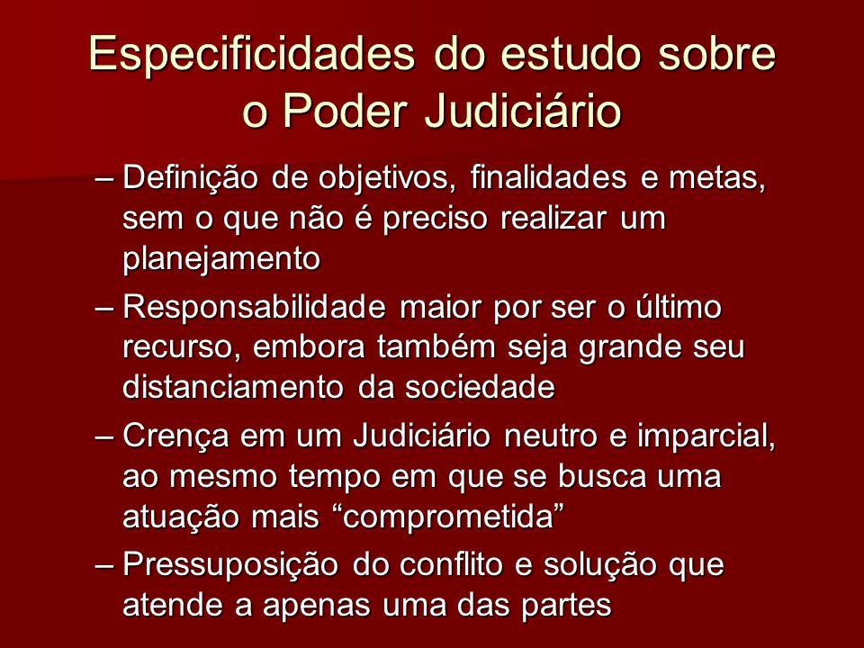 Especificidades do estudo sobre o Poder Judiciário