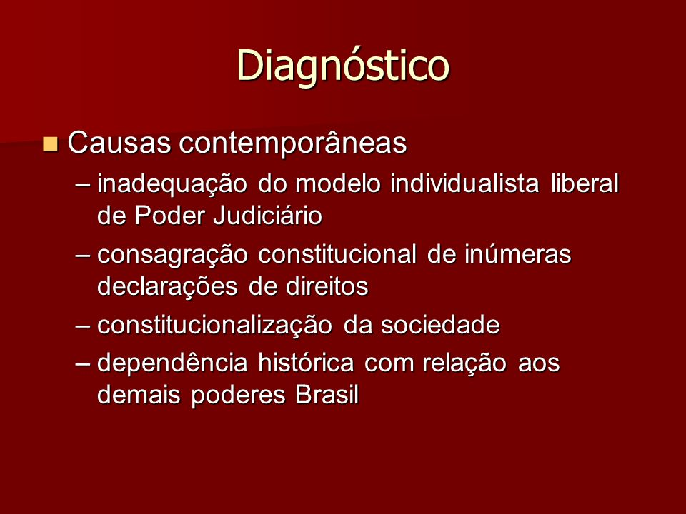 Diagnóstico Causas contemporâneas