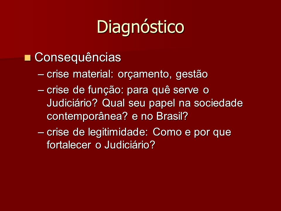 Diagnóstico Consequências crise material: orçamento, gestão