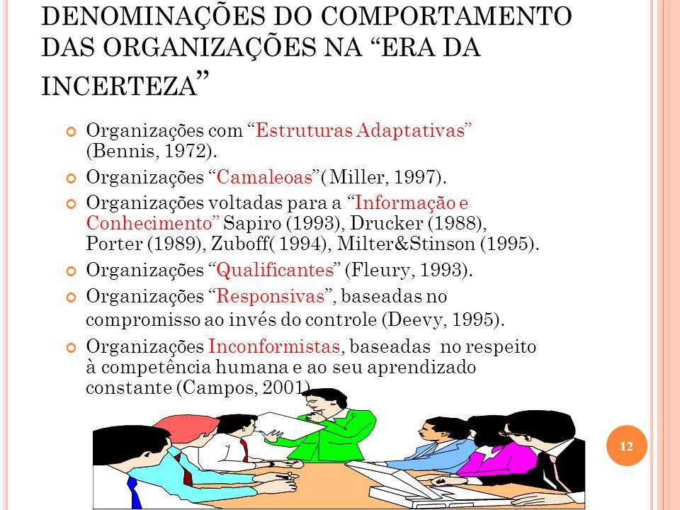 DENOMINAÇÕES DO COMPORTAMENTO DAS ORGANIZAÇÕES NA ERA DA INCERTEZA