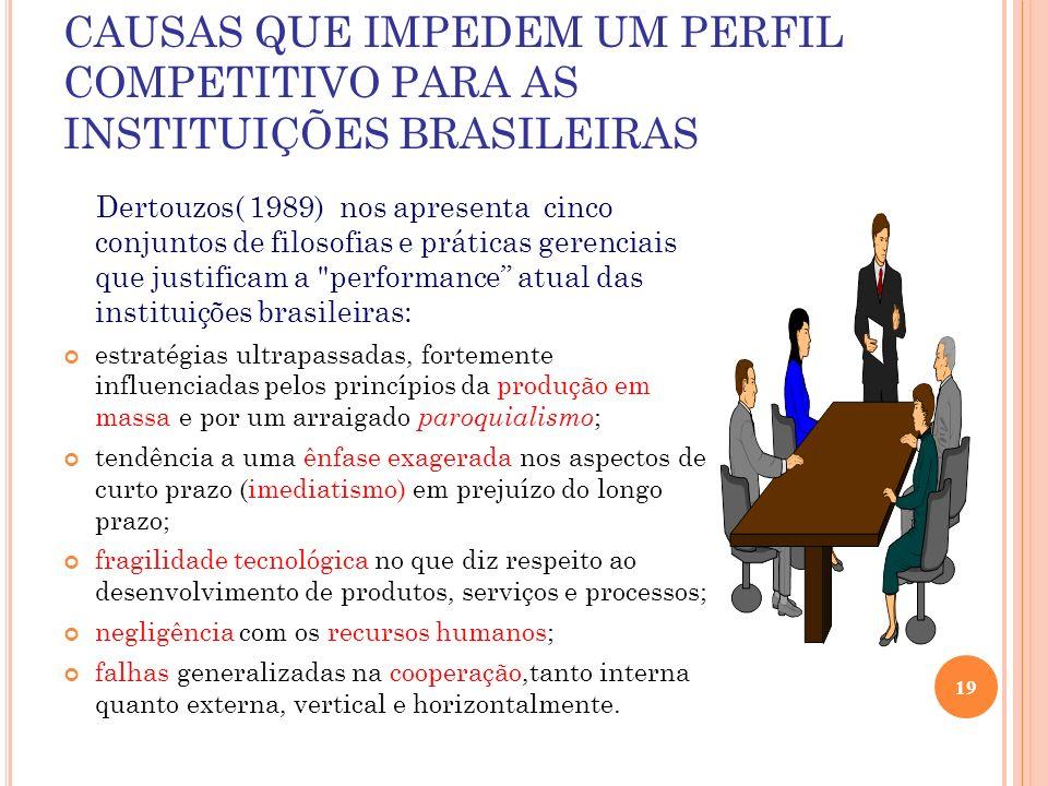 CAUSAS QUE IMPEDEM UM PERFIL COMPETITIVO PARA AS INSTITUIÇÕES BRASILEIRAS