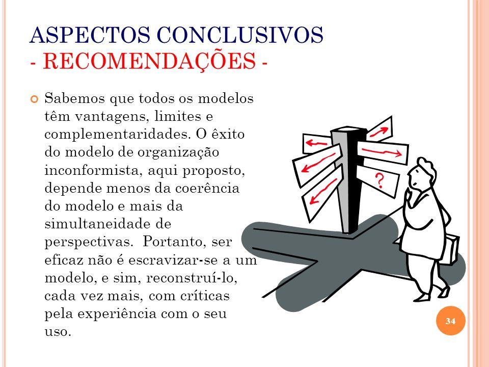 ASPECTOS CONCLUSIVOS - RECOMENDAÇÕES -
