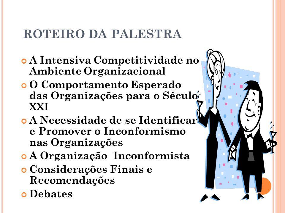 ROTEIRO DA PALESTRAA Intensiva Competitividade no Ambiente Organizacional. O Comportamento Esperado das Organizações para o Século XXI.