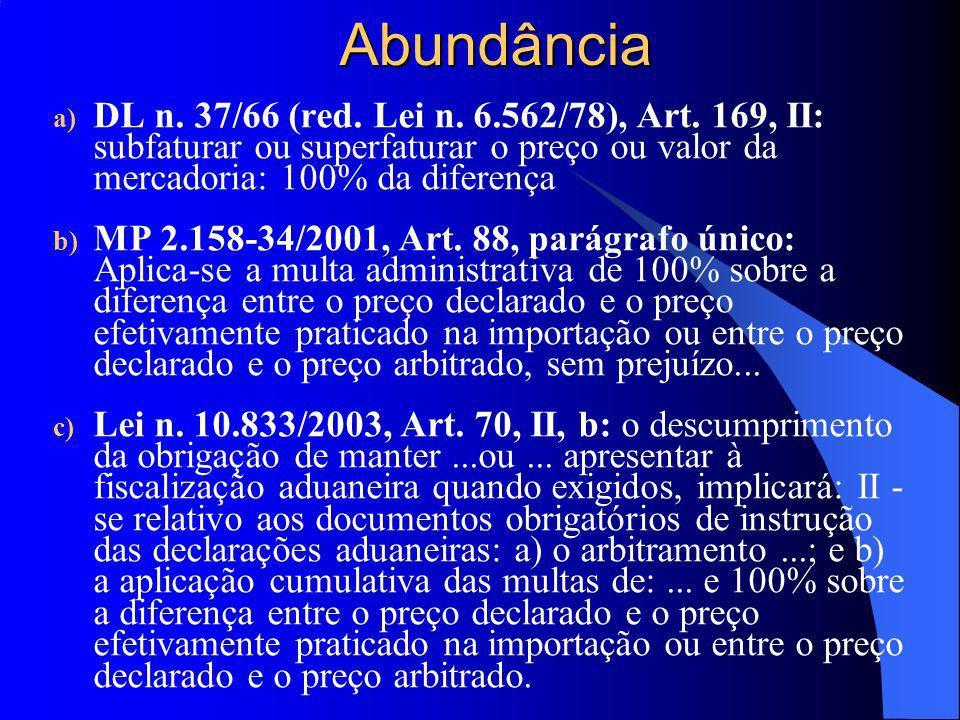 Abundância DL n. 37/66 (red. Lei n. 6.562/78), Art. 169, II: subfaturar ou superfaturar o preço ou valor da mercadoria: 100% da diferença.