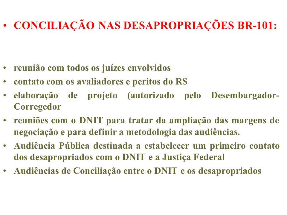 CONCILIAÇÃO NAS DESAPROPRIAÇÕES BR-101: