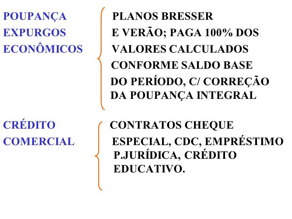 POUPANÇA PLANOS BRESSER