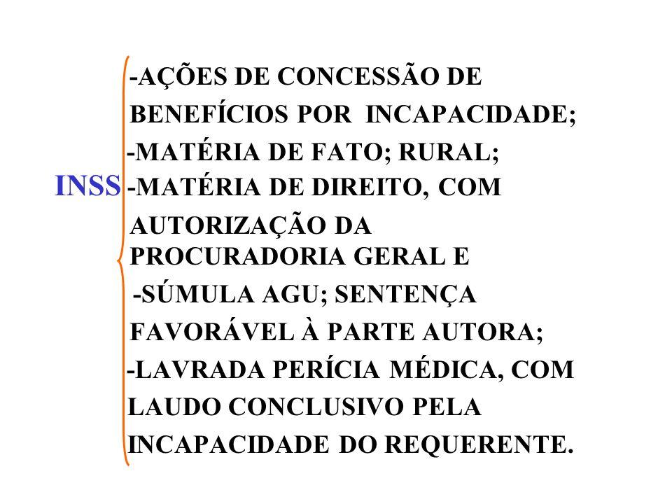 -AÇÕES DE CONCESSÃO DE BENEFÍCIOS POR INCAPACIDADE; -MATÉRIA DE FATO; RURAL; INSS -MATÉRIA DE DIREITO, COM.