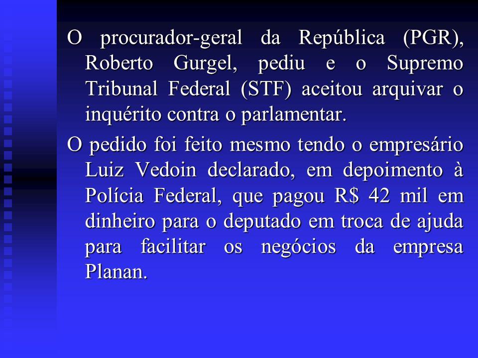 O procurador-geral da República (PGR), Roberto Gurgel, pediu e o Supremo Tribunal Federal (STF) aceitou arquivar o inquérito contra o parlamentar.