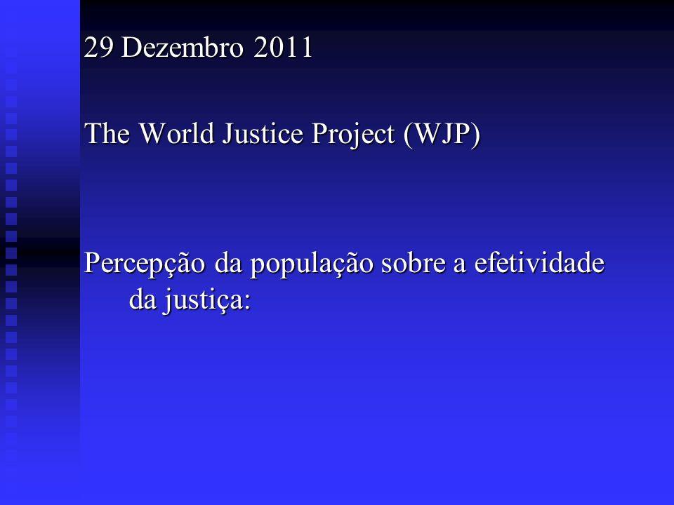 29 Dezembro 2011The World Justice Project (WJP) Percepção da população sobre a efetividade da justiça: