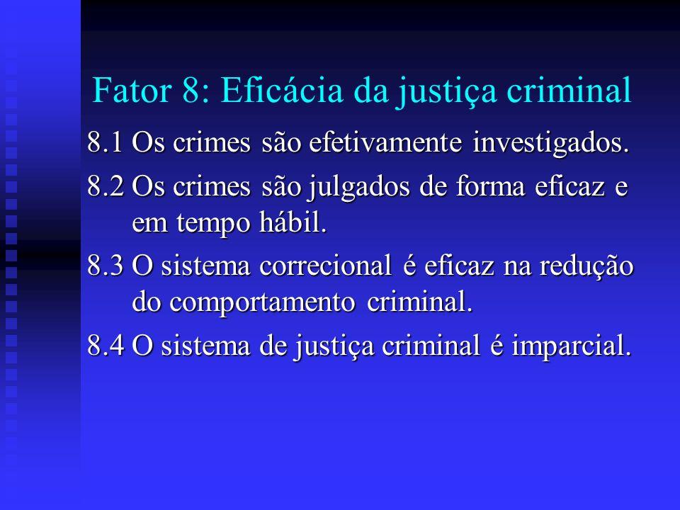 Fator 8: Eficácia da justiça criminal