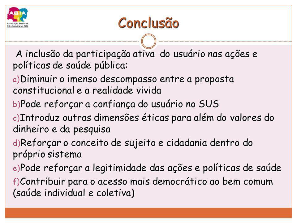 Conclusão A inclusão da participação ativa do usuário nas ações e políticas de saúde pública: