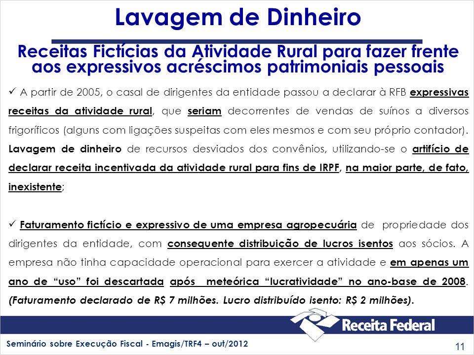 Lavagem de Dinheiro Receitas Fictícias da Atividade Rural para fazer frente aos expressivos acréscimos patrimoniais pessoais.