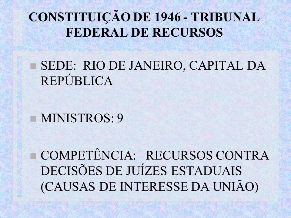 CONSTITUIÇÃO DE 1946 - TRIBUNAL FEDERAL DE RECURSOS