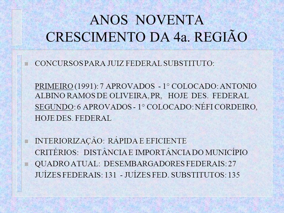 ANOS NOVENTA CRESCIMENTO DA 4a. REGIÃO