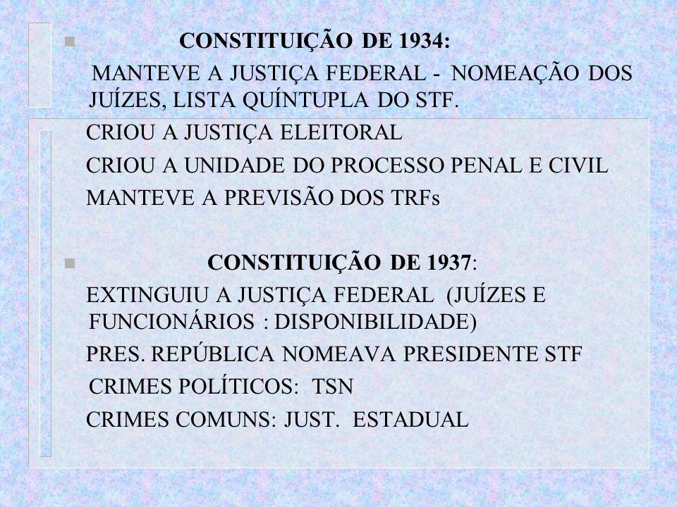 CONSTITUIÇÃO DE 1934: MANTEVE A JUSTIÇA FEDERAL - NOMEAÇÃO DOS JUÍZES, LISTA QUÍNTUPLA DO STF. CRIOU A JUSTIÇA ELEITORAL.