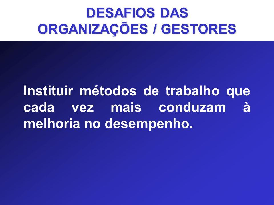DESAFIOS DAS ORGANIZAÇÕES / GESTORES
