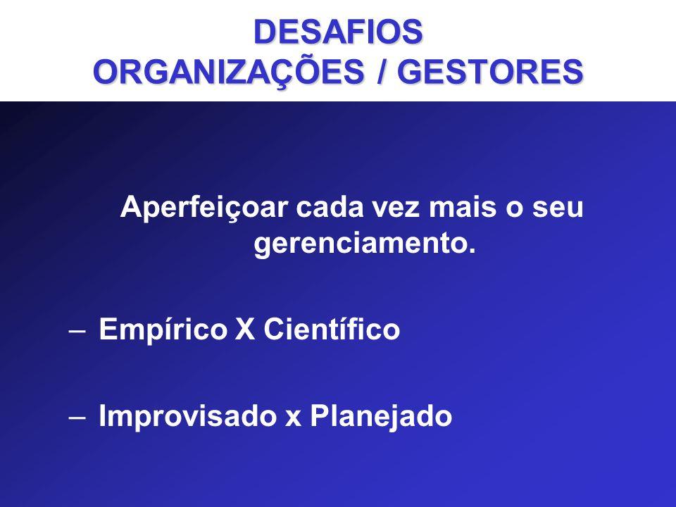 DESAFIOS ORGANIZAÇÕES / GESTORES