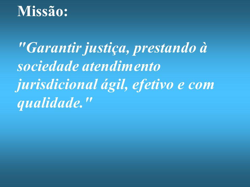 Missão: Garantir justiça, prestando à sociedade atendimento jurisdicional ágil, efetivo e com qualidade.