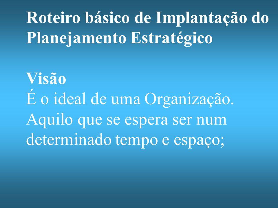 Roteiro básico de Implantação do Planejamento Estratégico Visão É o ideal de uma Organização.