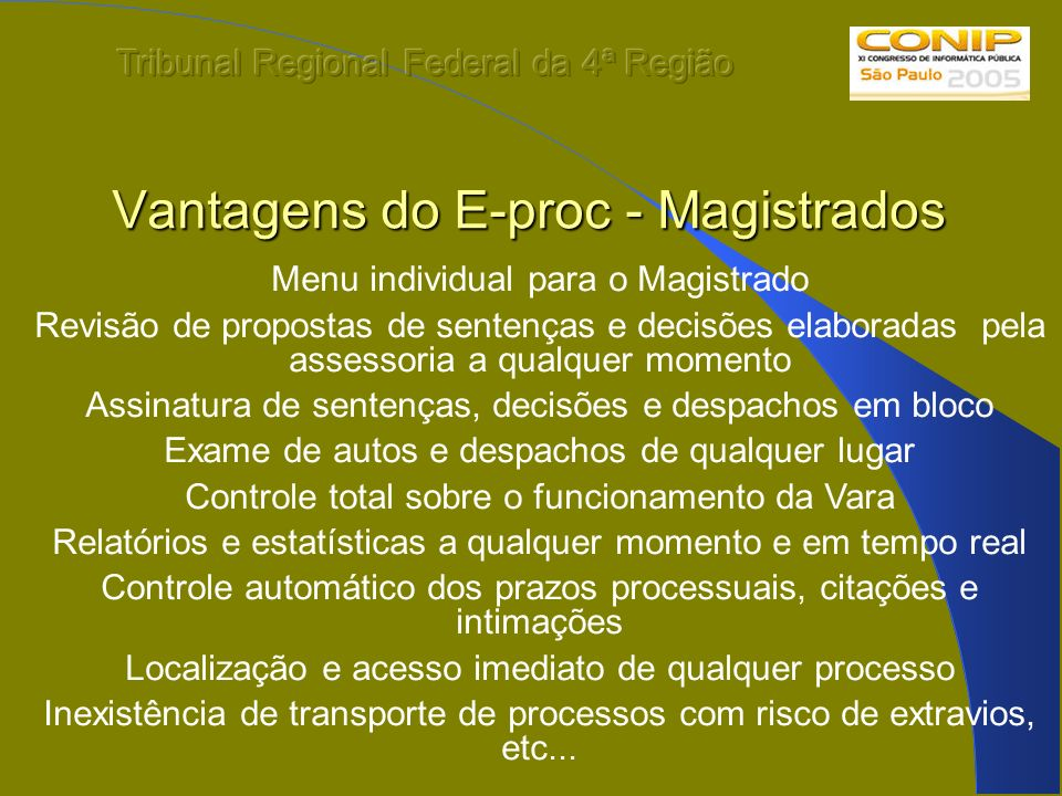 Vantagens do E-proc - Magistrados