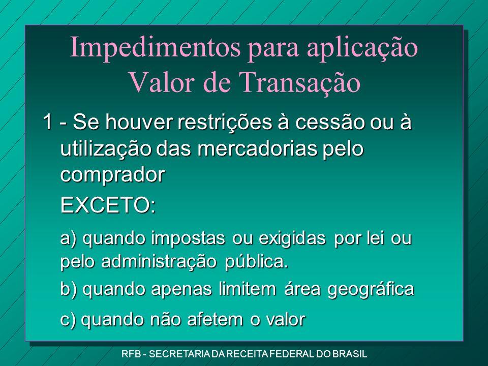 Impedimentos para aplicação Valor de Transação