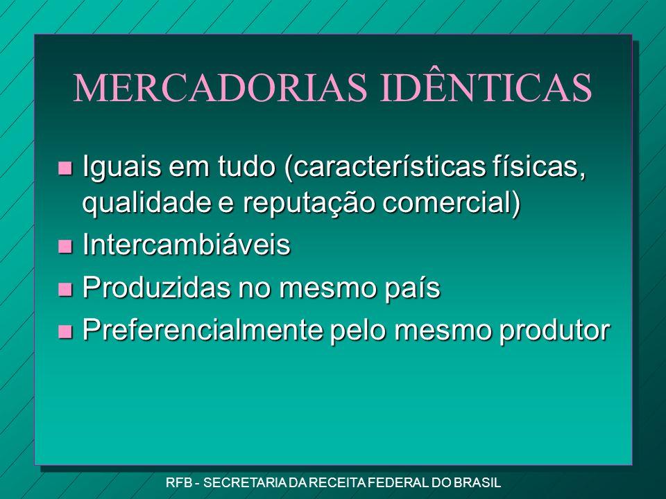 MERCADORIAS IDÊNTICAS
