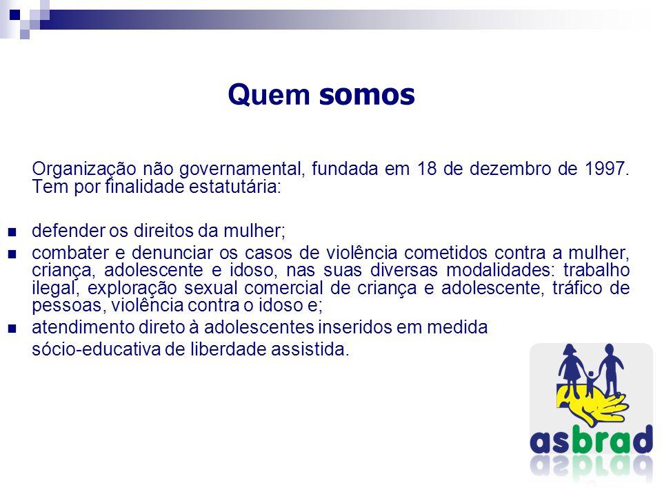 Quem somos Organização não governamental, fundada em 18 de dezembro de 1997. Tem por finalidade estatutária: