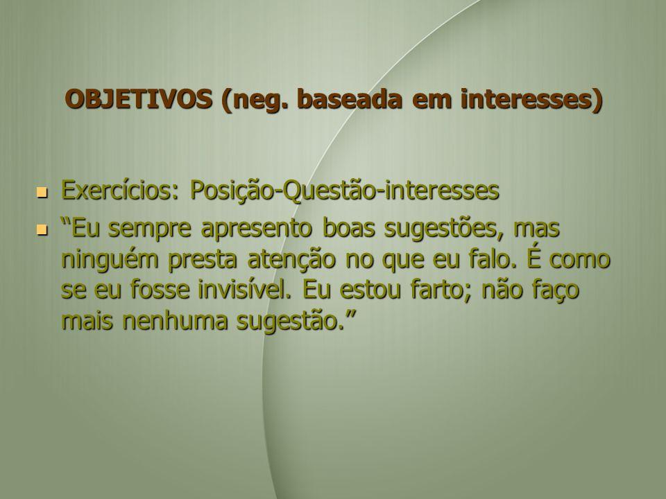 OBJETIVOS (neg. baseada em interesses)
