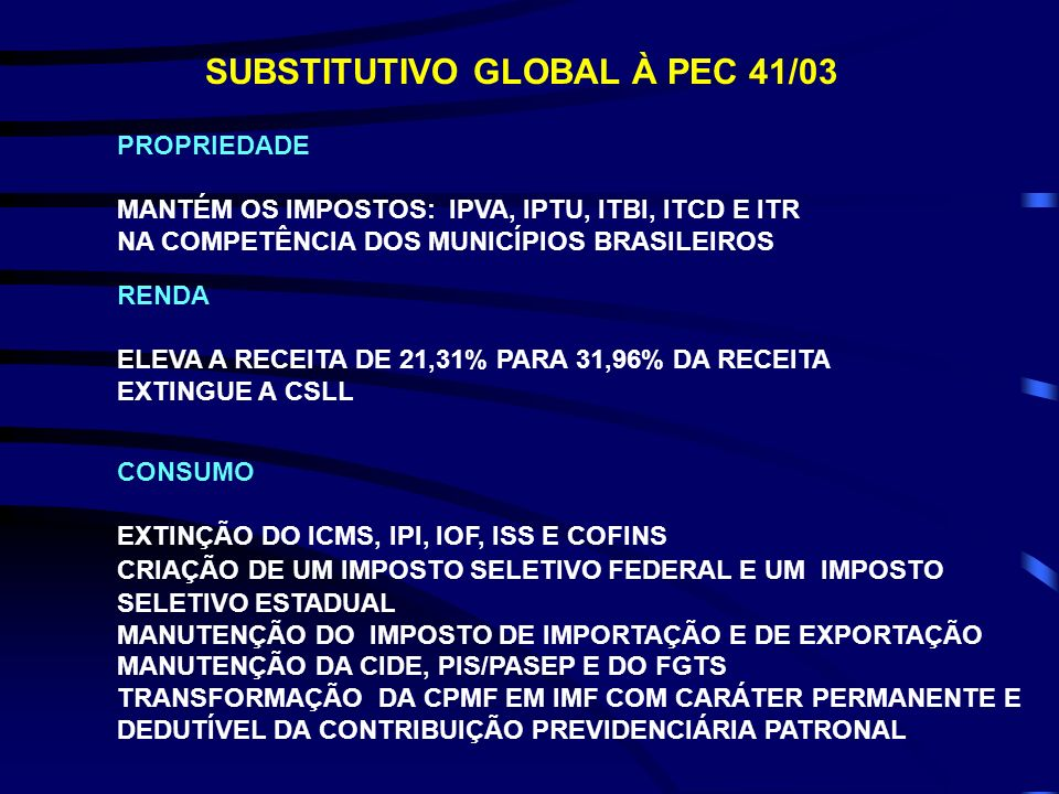 SUBSTITUTIVO GLOBAL À PEC 41/03