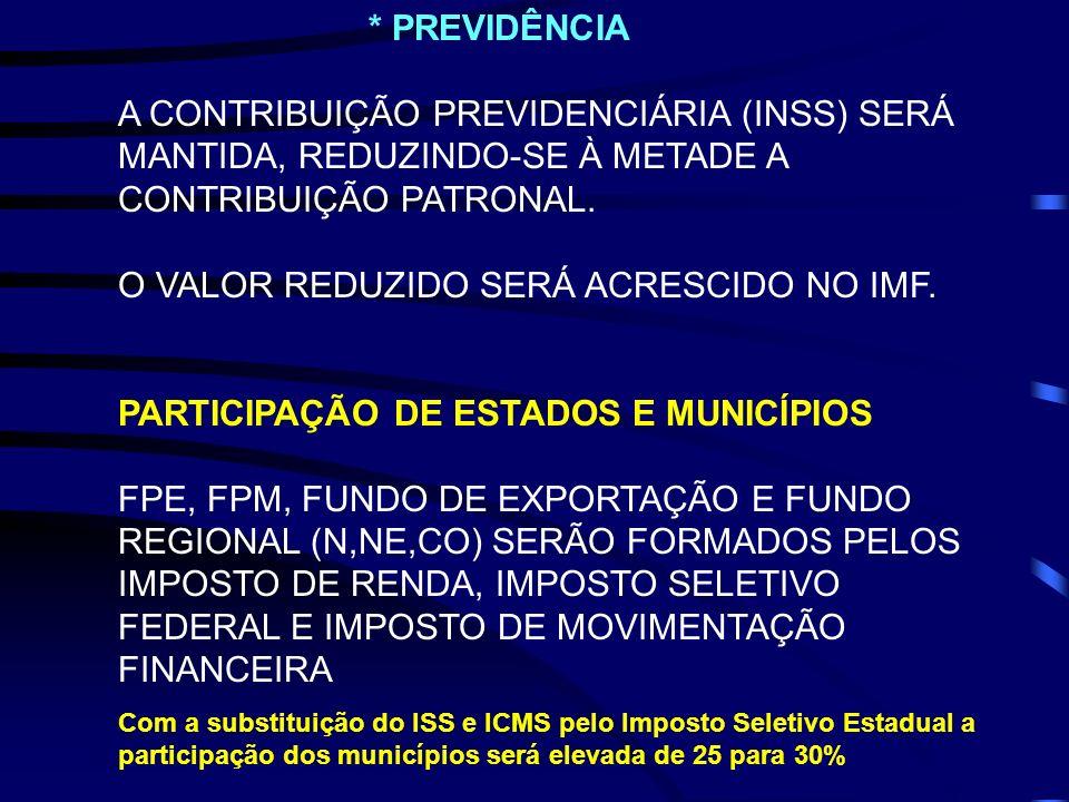 CONTRIBUIÇÃO PATRONAL. O VALOR REDUZIDO SERÁ ACRESCIDO NO IMF.