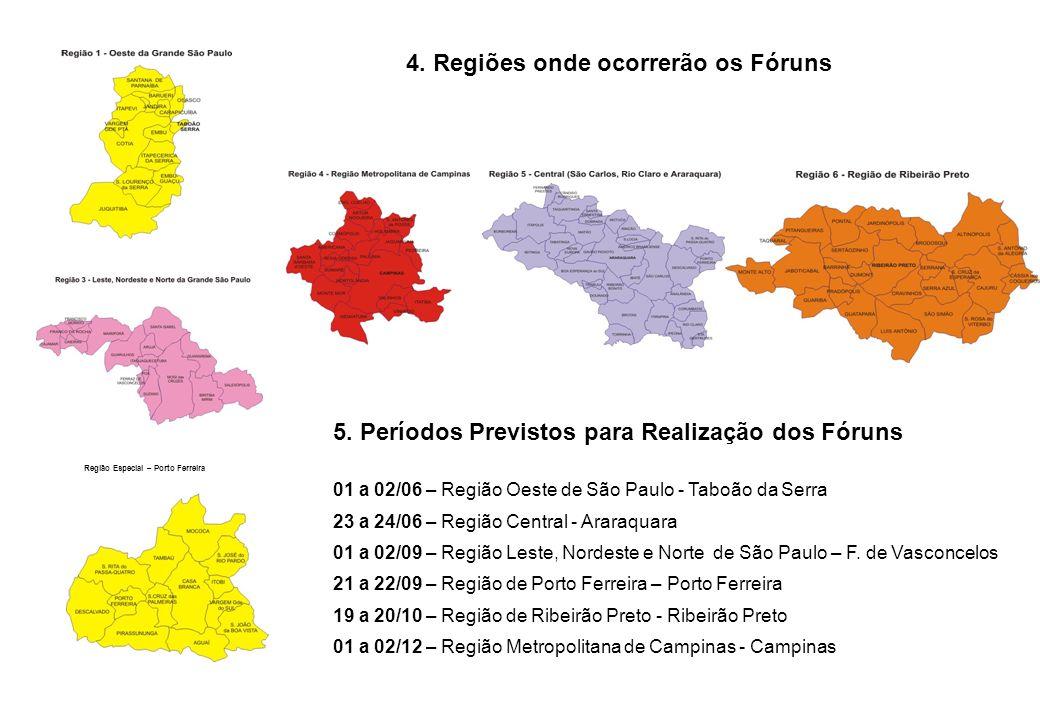 4. Regiões onde ocorrerão os Fóruns