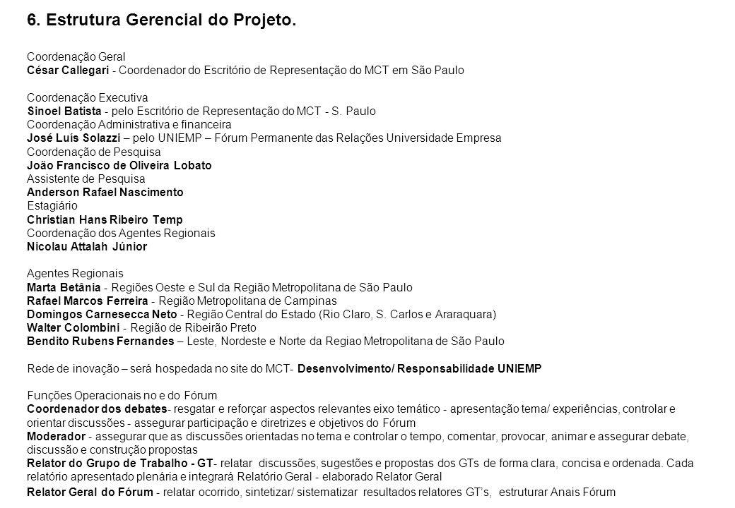 6. Estrutura Gerencial do Projeto