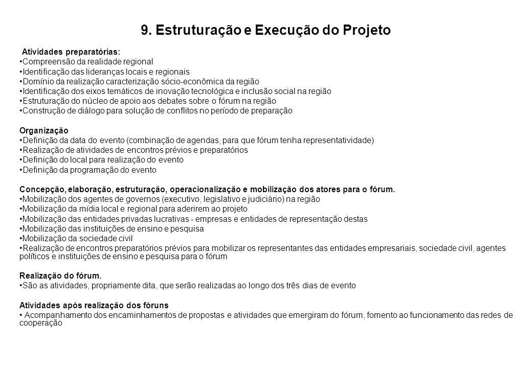 9. Estruturação e Execução do Projeto