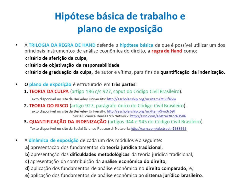 Hipótese básica de trabalho e plano de exposição
