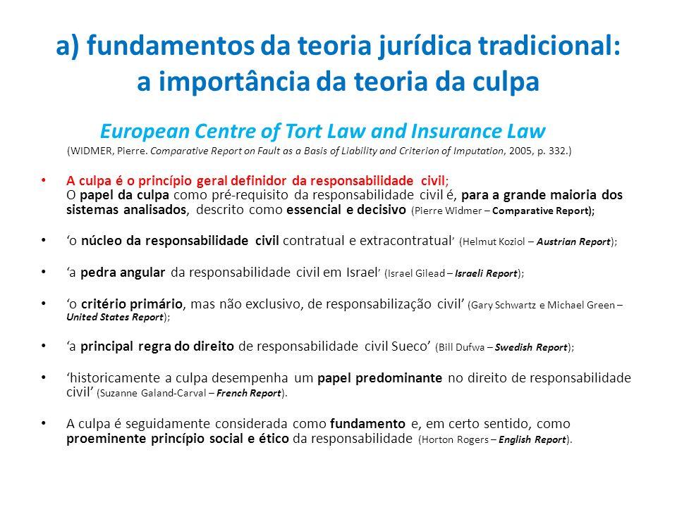 a) fundamentos da teoria jurídica tradicional: a importância da teoria da culpa
