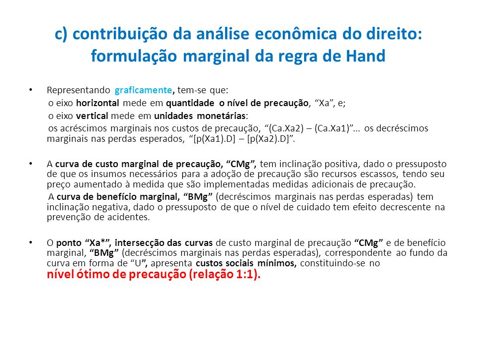 c) contribuição da análise econômica do direito: formulação marginal da regra de Hand