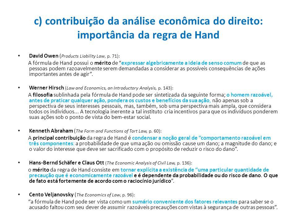 c) contribuição da análise econômica do direito: importância da regra de Hand